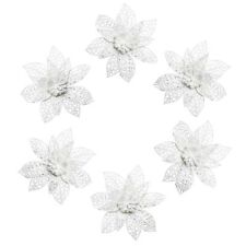 6 x Christmas Tree Xmas Bauble Decorations Ornate 3D Poinsettia Flowers - White