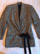 Vintage 1980s Versace Blazer Suit Jacket Black Grey Plaid Check Ribbon Ties