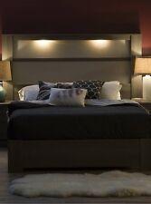 2 Piece Gray Maple Lighted Headboard Queen Platform Bed Set Home Furniture