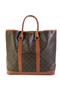 Louis Vuitton Womens Vintage Leather Monogram Sac Weekend Tote GM Brown
