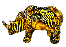 Vintage La Vie Safari Collection Rhino Animal Figurine African Patchwork Print