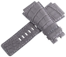 New Bell & Ross Mens 24mm Grey Alligator Leather Watch Band Strap