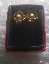 Vintage Art Deco Rev Earrings Pierre Cardin Space Gold - NZ Antique Estate