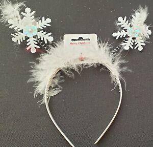 NEW  Christmas snowflake deeley bopper aliceband headband fancy dress novelty UK