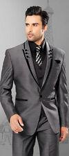 Men suits slim fit peak Lapel groom suit grey Groomsmen Best Men Wedding suits