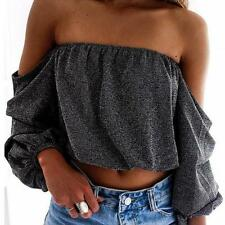 Sexy Women Off Shoulder Top Long Sleeve Pullover Casual Blouse Short T-Shirt