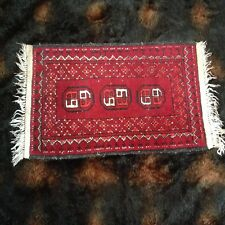 "19""x29"" Vtg Wool Royal Bokhara Hand Knotted Oriental 2x2 Rug Door Mat Entrance"
