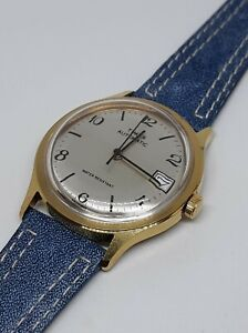 Timex Vintage 1980 Mens Marlin Viscount Automatic Gold Black Blue Leather CLEAN!