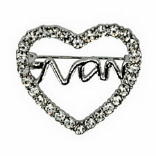 Heart & Nan Brooch Venetti Silver Colour Diamante
