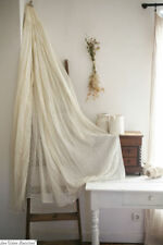 Antique French delicate CIEL DE LIT BED CANOPY embroidered trimmed COTTON VEIL c