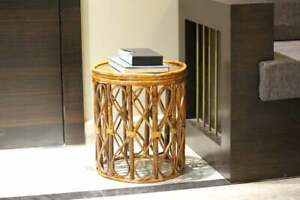 Cane Round Side End Bamboo Table Handmade Open Rattan Drum Plant Stand
