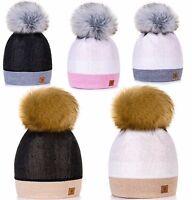 Women Winter Beanie Hat Knitted Ladies Fashion Large Pom Pom Gifts Worm Fleece