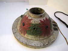 Antique Cast Iron Poinsettia Flowers Motif Christmas Tree Stand with Lights