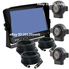 "9"" REAR VIEW BACKUP 3-CAMERA KIT SYSTEM CCTV FOR TRACTOR, EXCAVATOR, TRUCK, RV"