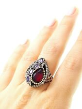 STERLING 925 SILVER SIZE 8 RUBY RING TURKISH HANDMADE SULTAN JEWELRY DR1017