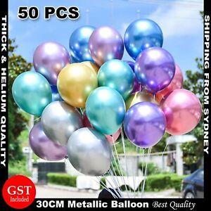 50x Thick Chrome Metallic Balloon 30cm Helium Birthday Wedding Party Balloons AU
