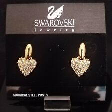 SWAROVSKI GOLD EARRINGS HEART DROP WITH PAVE *NEW*