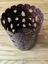 Mrs. Baker's Original Recipe Burgundy with white speckles Metal Candle Holder