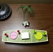 Vtg Barbie Go Together Lot- Htf Palm Tree, Dominos, Cups, Plates & Coffee Table