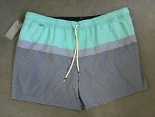 M&S QUICK DRY SWIMMING SHORTS IN AQUA AND GREY WITH FRONT DRAWSTRING - XXL - BNW