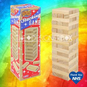 54 Piece Retro Stacking Tumbling Wood Block Game Children's Kids Wooden Jenga F