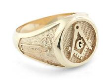 New Mens 14K Solid Gold Masonic Freemason Ring Solid!