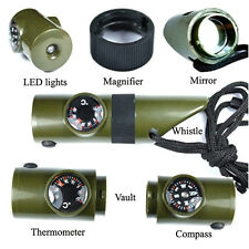 7in1 Camping Survival Whistle Compass Thermometer Magnifier LED Flashlight Fire