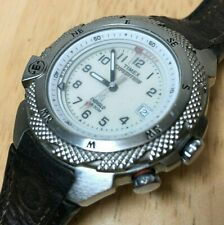 Timex Expedition Alarm Men Silver Beige Analog Quartz Watch Hour~Date~New Batter