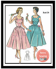1950s Summer Dress -  Reproduction Sewing Pattern - 2 sizes