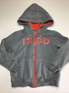 Boys IZOD Hoodie, Size Medium, 5/6 Regular.  Gray, Zip Up Sweatshirt.