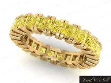 4.10Ct Yellow Diamond Gallery Eternity Wedding Band Ring Solid 14k Gold SI2 Sz8