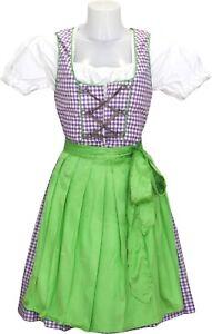 German Wear, 3-teiler Midi-Dirndl-Set Dirndel Dirndlbluse schürze lila/kariert