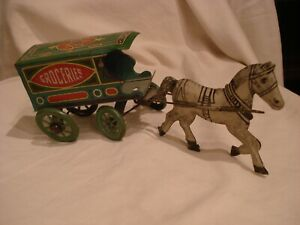 Vintage 1930's Tin Toy Horse & Fine Groceries Wagon - possible J Chein
