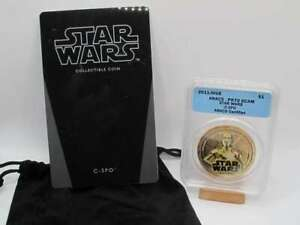 2011 STAR WARS: GILT COIN - C-3PO -ANACS PF70 ULTRA CAMEO - POP=5 - TOP POP