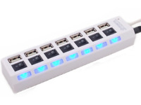 White 7 Port USB 2.0 Hub High Speed with LED On/off Switches for PC Laptops