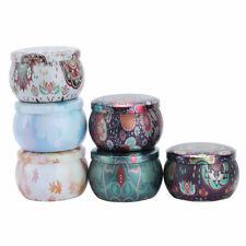 6Pcs Round Tin Metal Tin Container Jars Storage Case w/Lids Jewelry Bottle Boxes