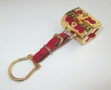 VINTAGE LUXURY ITALIAN GOLD TONE TREASURE CHEST KEY CHAIN TRAVEL SEWING KIT SET