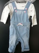 MOTHERCARE BABY GIRLS BUNNY DENIM DUNGAREES AND BODYSUIT SET 2PC OUTFIT UP TO 3M
