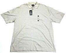 Haggar Cool 18 Mens Performance Polo Shirt Beige Stripe Moisture Wicking Xl New