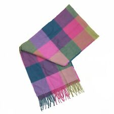Multi Colored Plaid 100% Cashmere Fringe Scarf Made in Scotland Pink Teal Green