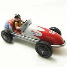 Vintage Wind up Tin Toy Racing Race Car Racer Driver Clockwork Mechanical