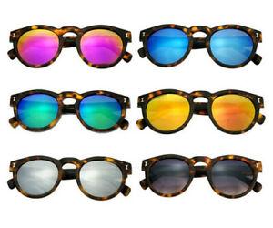 Leonard Round Vintage Mirrored Sunglasses Tortoise Frame
