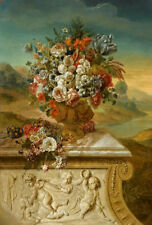 """oil painting""""  Vase of Flowers before a Background of Mountainous Scenery """"10158"""