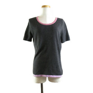 Chanel ShortSleeved Knit Clothing Tops Cashmere Women 'S Gray System No.4797