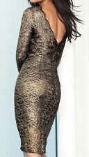 Bnwt *NEXT* Gold/Black Vintage Lace Bodycon Dress (size Uk 12 Petite)