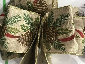 """Wire-Edged RIBBON Extra wide 6.3cm/2.5"""" Hessian with Pine Cones Glitter Edging"""