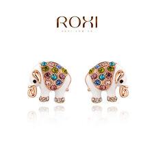 Rose Gold Plated Multicolor Crystal Elephant Shape Earrings Stud Women Jewelry