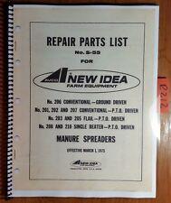 New Idea 206 201 202 207 203 205 208 210 Manure Spreader Repair Parts Manual '75