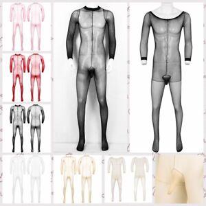 Sexy Mens Mesh Full Body Stocking Penis Sheath Bodysuit Underwear Nightwear