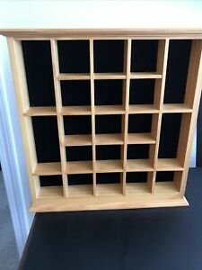 21 Shot Glass Display Case Holder Wall Curio Cabinet Shadow Box